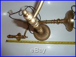 Vintage A Pair Laura Ashley Large Brass Table Lamp, Desk Bedside Shade Swing Arm