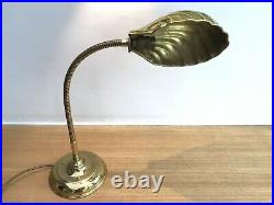 Vintage Brass Gooseneck Lamp / Table Lamp Clam Shell Shade Art Deco Style