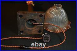 Vintage Edwardian C1910 large bronze Corinthian lamp rare tinted Holophane shade