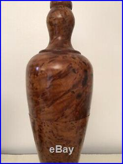 Vintage Hand Turned Pair Of Large Table Lamps Solid Thuya Burr Wood