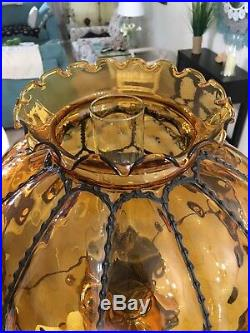 Vintage Hurricane Lamp Large Amber Melon Gold Gilded 26 Tall Excellent