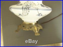 Vintage Hurricane palor lamp hand painted flower large GWTW table lamp