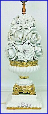 Vintage Large 36 White Porcelain 3D Flowers W Gold Gilt Centerpiece Table Lamp