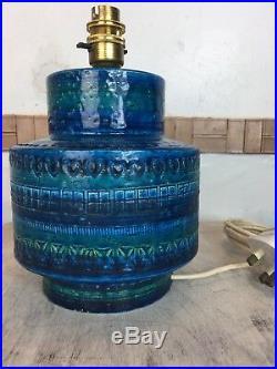Vintage Large Bitossi Rimini Blue Aldo Londi Italian Table Lamp 1960's