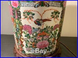 Vintage, Large Chinese Porcelain Rose Medallion table lamp base, oriental lamp