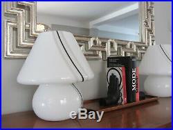 Vintage Large Pair Murano Glass Filigrana Brown Spiral Mushroom Table Lamp 14