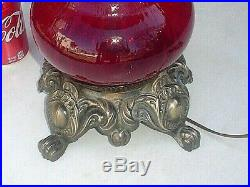 Vintage Large Pretty Red Glass 3-way Hurricane Type Table Lamp