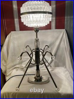 Vintage Large Retro Chrome Atomic Sputnik Desk Table Lamp Space Age UFO