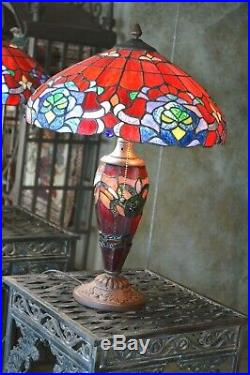 Vintage Large Tiffany Style Art Stained Glass Lamp Flowers 3 Lights