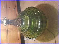 Vintage MID Century Green Glass Table Lamp Hollywood Regency Large Ef & Ef Large
