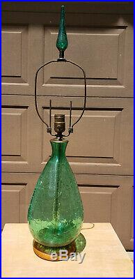 Vintage Mid Century Blenko Table Lamp green Crackle Glass w Finial Large Rare