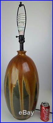 Vintage Mid Century Modern Ceramic Drip Glaze Large Atomic Table Lamp