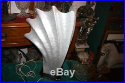 Vintage Mid Century Modern Lucite Acrylic Seashell Table Lamp-Large-Pearl White