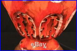 Vintage Mid Century Modern Red Orange Large Lava Drip Glaze Pottery Table Lamp