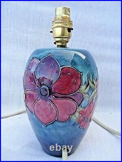 Vintage Moorcroft Anemone Large Table Lamp Base Perfect Rewired 9 1/2 Tall