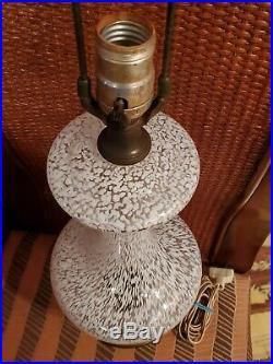 Vintage Murano Art Glass White Table Lamp Large Mid Century Brass Base