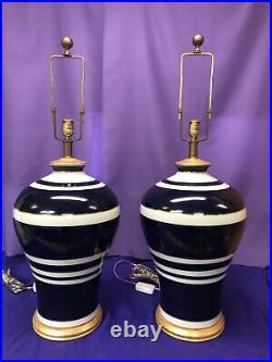 Vintage Pair (2) RALPH LAUREN Large Ginger Jar Table Lamps -Hart, Chapman RARE