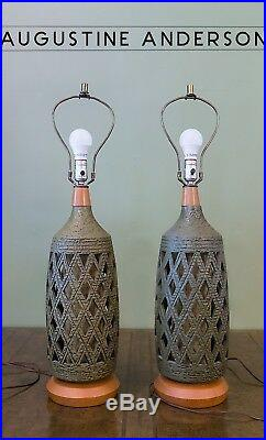 Vintage Pair Reticulated Pottery Table Lamps, Handmade, Large, Green, Mid-century
