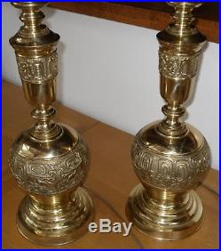Vintage Pair of Large Solid Brass Baluster Form Table Lamps 55cm (22) Tall