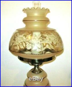 Vintage QUOIZEL Satin Lace Hurricane Table Lamp 1978 C-267BA LARGE 28-1/2 H