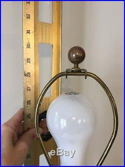 Vintage Royal Haeger MCM Purple Large Lamp 30 Tall Original Linen Shade