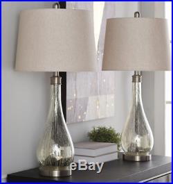 Vintage Table Lamp Metal Desk Furniture Set 2 Light Large Glass Modern Shade