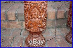 Vintage mid century Pair Hand Carved Wooden Buddha Extra Large Table Lamps Wood