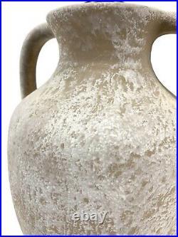 Vtg 70's Minimalist Large Whitewashed Pottery Jar Jug Table Lamp Light Ceramic