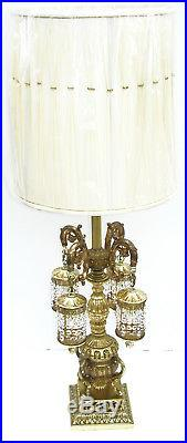 Vtg AB Crystal Waterfall Prism Gold French Antique Table Lamp Light Chandelier