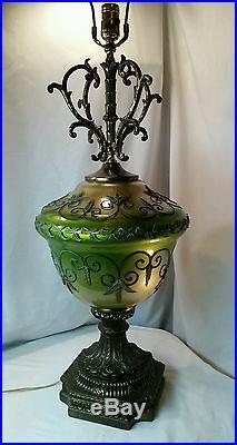 Vtg LARGE Art Deco Ornate Mid-cent Brass Overlay Leaves scroll table lamp light