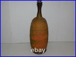 Vtg Lava Retro 1960's Glaze LARGE Table Lamp Mid Century Modern Ceramics Side