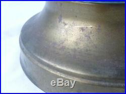 Vtg Mid Century MODern Large Green Blue Drip Glaze Table Lamp NICE