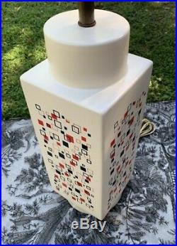Vtg Mid-Century Modern Geometric Art Pottery Table Lamp Square 21 Large Funky
