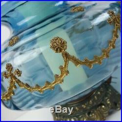 Vtg Pair Mid Century Blue Glass Table Lamps Falkenstein Hollywood Regency Lrg