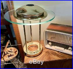 Vtg Robert Sonneman Saturn Table Lamp Glass Gold Tone Dimmer Large George Kovacs