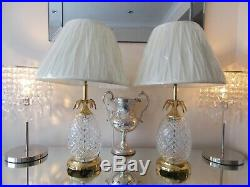 Waterford Crystal Pineapple Lamps Hospitality Large Table Lamps & New Shades