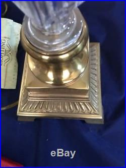 Waterford Large Table Top Lamp And Shade Crystal And Brass 28 Michael Vereker