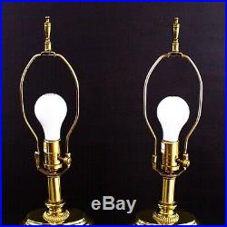 Waterford Overture Pair Of Cut Crystal & Brass Oblong 27 1/2 Large Table Lamps