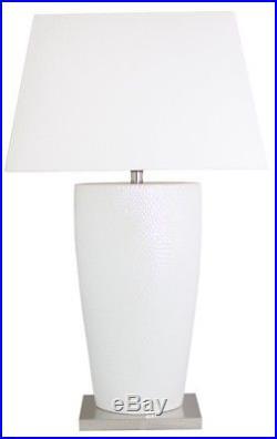 White Bahama Large Table Lamp with 20 inch Ivory Shade