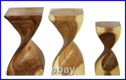 Wooden Helix Twist small side/end table stool lamp/plant stand Acacia. Natural