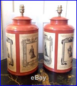 Woolpit Interiors Tea Tins Tea Caddy Canisters Large Pair Of Table Lamps