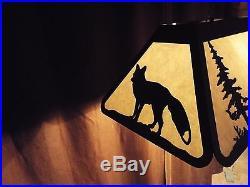 X Large Laser cut Steel Whitetail Deer & Fox Pool Table Light Lamp hunt COPPER