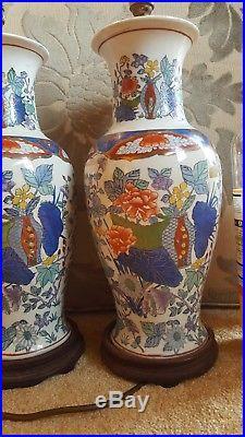 X2 Vintage Imari Large Lamps Ceramic Oriental Japanese Chinese Antique Design